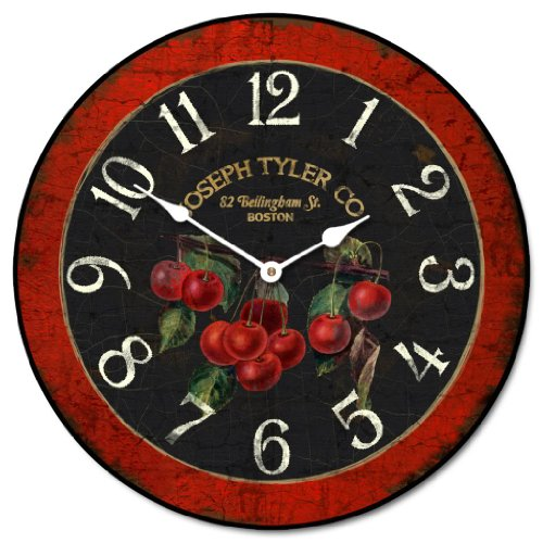 Cherry Wall Clock, Available in 8 Sizes, Most Sizes Ship 2-3 Days, Whisper Quiet.