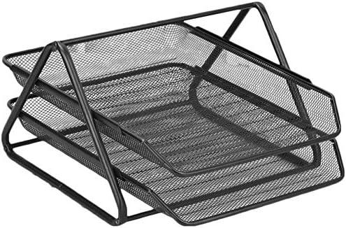 Z-SEAT Zwei-Layer-Datei Halter, Mesh-Schreibtisch-Organisator, Metallschreibtisch Datei-Tray, Anti-Rost-Magazine Rack, Bürozubehör