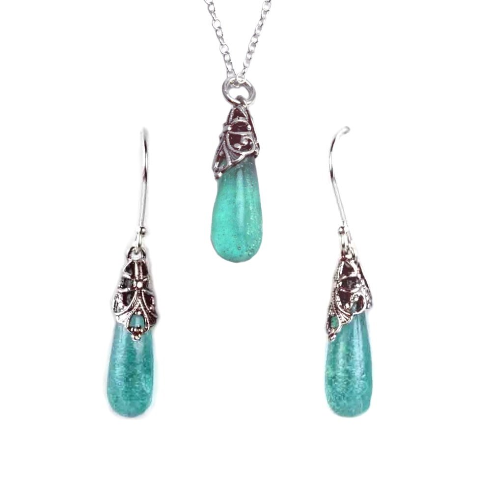 Ancient Roman Glass Earring and Necklace Set Teardrop Design by Roman Glass Company