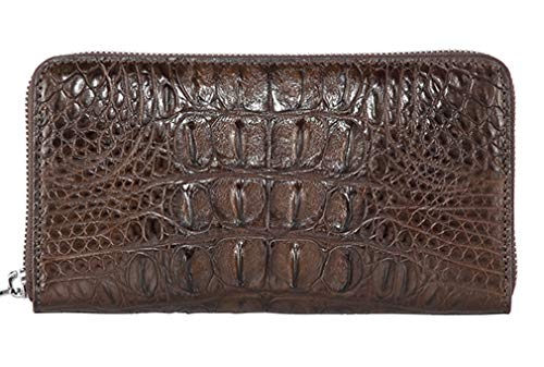 Men's Alligator Skin Wallet, Genuine Alligator Skin Zipper Wallet Extravagant Gift (Small long Zipper (Alligator Back), -