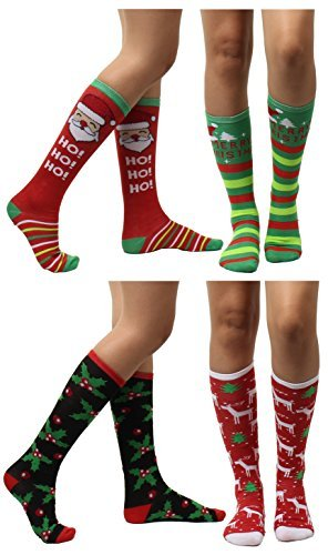 4 Pairs Christmas Holiday Knee High Socks,Assorted Colors & Designs Womens Size: 9-11 (Style 2) (Christmas Knee Socks)