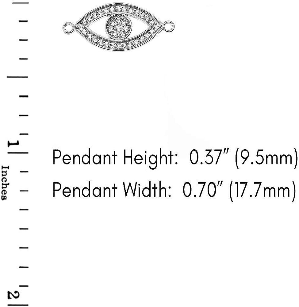 CaliRoseJewelry 14k Gold Sideways Evil Eye Cubic Zirconia Pendant Necklace