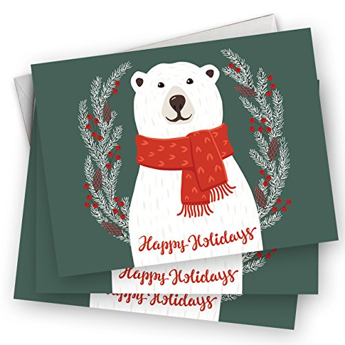 Smiling Polar Bear Holiday Card Pack - Set of 25 cards - 1 design, versed inside with envelopes Photo #5