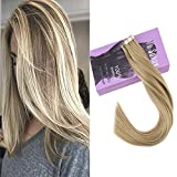 VeSunny 20″ Remy Tape in Hair Extensions Human Hair Color #16 Golden Brown Mixed #22 Golden Blonde 100g Tape in Hair Extensions 2.5g/pc 40pcs/pack