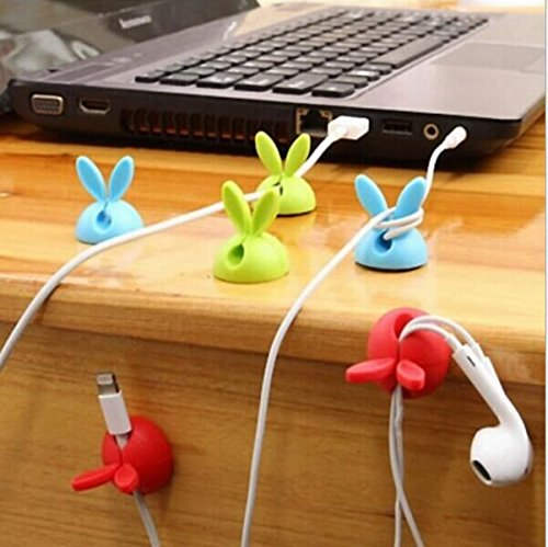 Drhob 4PCS Rabbit ears Multipurpose Cable Drop Wire Cable Drop Clips Holder Organizer(Random Color)