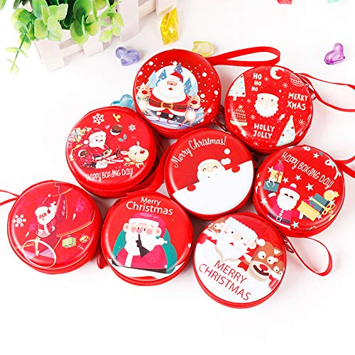 qiguch66 Headphone Storage Bag, Christmas Santa Claus Mini Coin Purse Round Zipper Wallet Earphone Key Bag - Red Random Style#