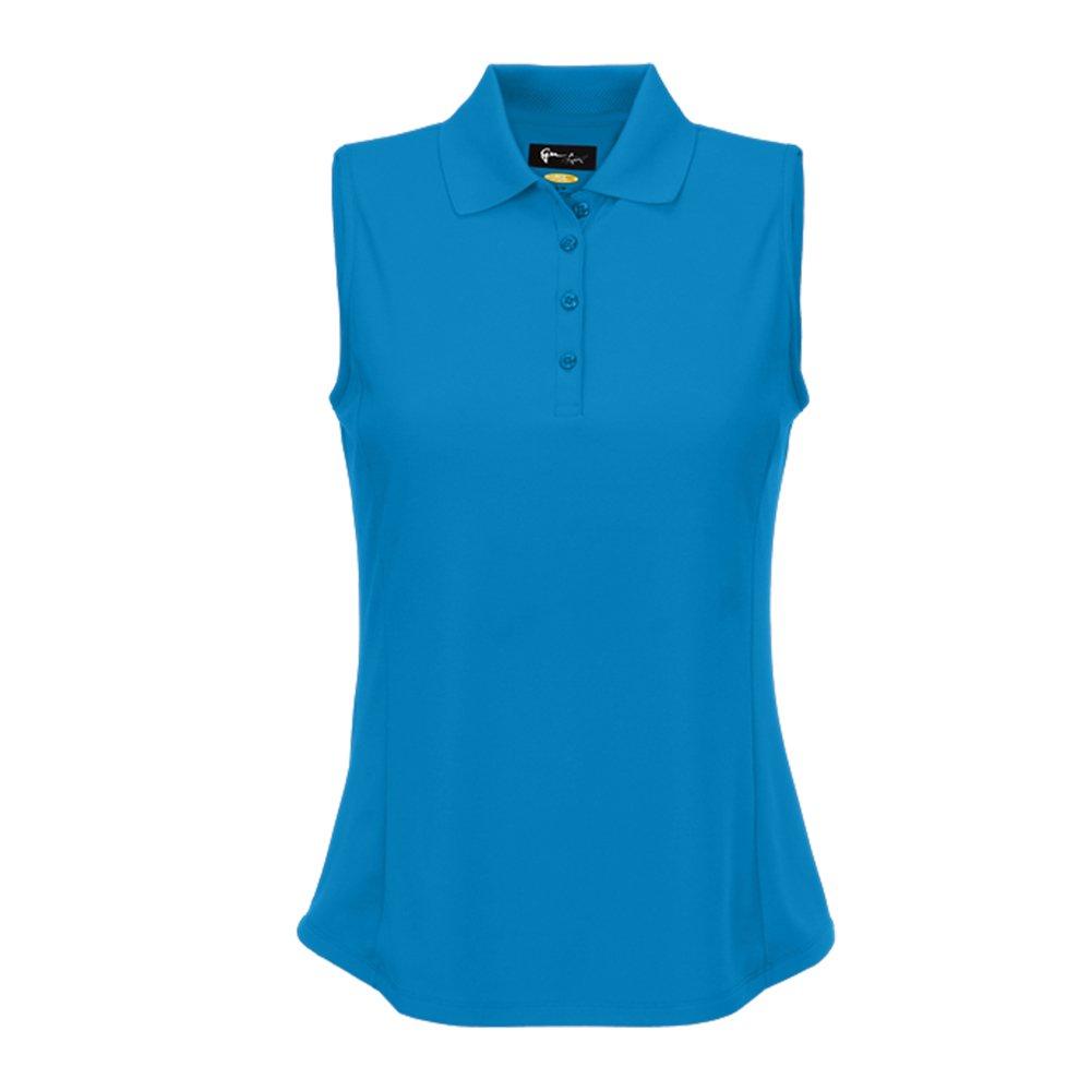 Greg Norman Women' Protek Micro Pique Sleeveless Polo Blue XS