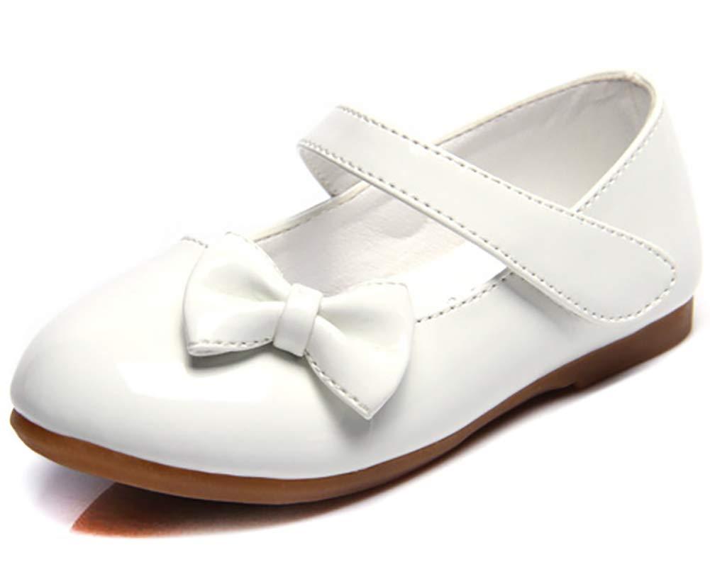 Femizee Girls Mary Jane Shoes Bow-Knot Wedding Party School Dress Ballet Flat(Toddler/Little Kid),White,1525 CN21 by Femizee (Image #1)