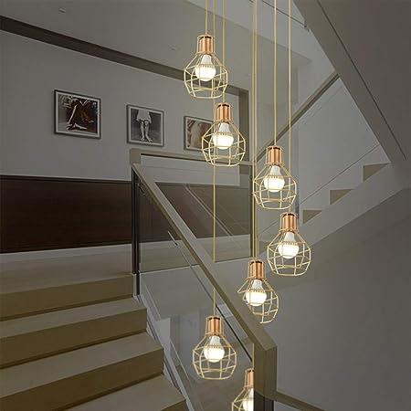 7 luces Retro Escalera de estilo industrial Araña larga Edificio moderno Complejo Apartamento Sala de estar Lámpara de techo Lámpara colgante de hierro forjado Escalera de caracol Lámpara de araña 40x: Amazon.es: