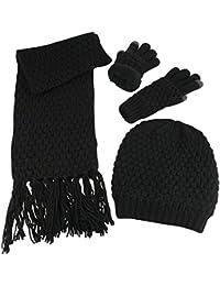 Women's Beanie Scarf Gloves 3PC Set Sherpa Lined Popcorn Stitch
