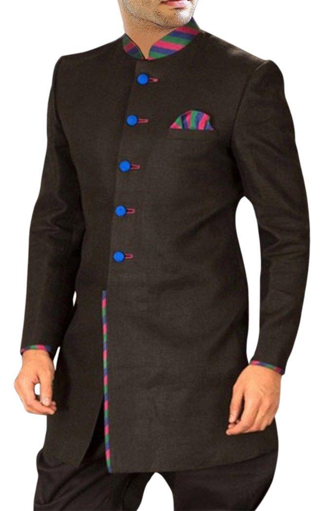 INMONARCH Mens Dark brown Polyester 2 Pc Indo Western 5 Button IN384S54 54 Short Brown