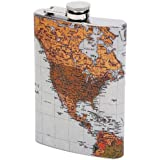Maxam KTFLMAP Flask with Antique World M Style, 8 oz