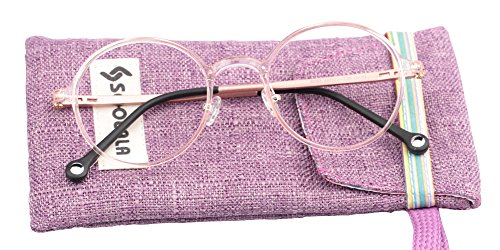 SOOLALA Unisex Vintage Inspired Round Circle Reading Glasses Customized Strengths, Pink, (Round Pink Cats Eye)