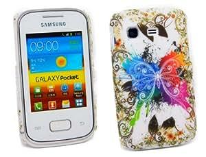Kit Me Out ES ® Carcasa plástico + Cargador para coche + Protector de pantalla con gamuza de microfibra para Samsung Galaxy Pocket S5300 - Multicolor Mariposa de colores
