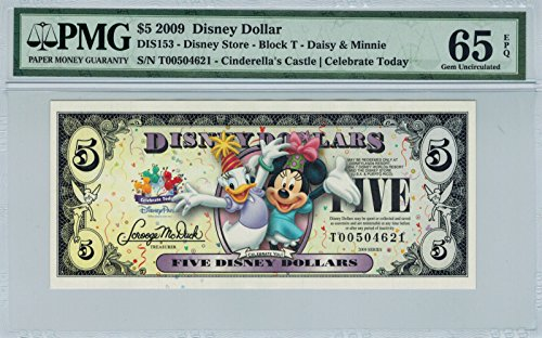 Disney Dollar 2009 T $5 Daisy Minnie T00504621 PMG 65 EPQ Gem (Pmg 65 Gem)