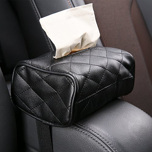 shakar Luxury PU Leather Car Seat Back Bag, Car Sun Visor Tissue Case Holder Paper Towel Bag Cover, Back Seat Headrest Hanging Napkin Clip,Car Console Armrest Bag - Headrest Tissues
