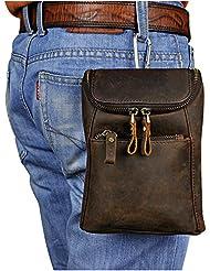 Leaokuu Men Leather Fashion Mini Messenger Shoulder Bag Designer Waist Belt Bag Pack Cigarette Phone Case