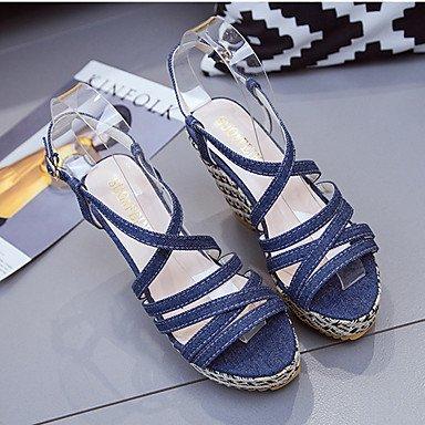 LvYuan Tacón Plano Tacón Cuña-Confort-Sandalias-Vestido Informal-Tela-Multicolor Light Blue