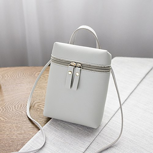 Coin Red Leather Double Phone Pouch Small Girls Portable Bag Cross Daliuing Women Zipper Bag Grey Purse Durable Shoulder Bag Crossbody xXzqUwa