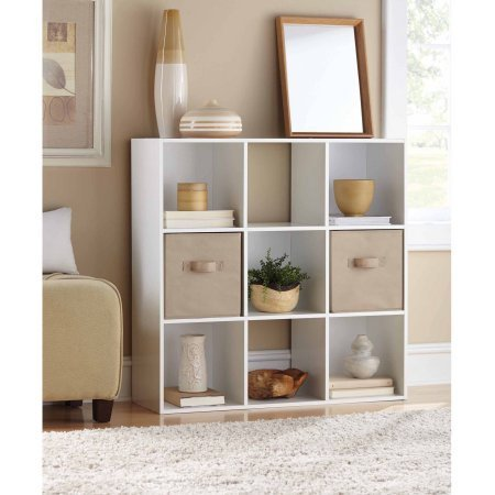 Mainstays 9 Cube Organizer, Multiple Colors | 9-compartment storage cube (White) (Closet 9 Cube Maid)