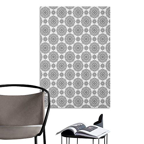 Wall Mural Wallpaper Stickers Mandala Eastern Monochrome Composition with Floral Elements Blooming Petals and Leaves Black and White Kitchen Room Wall W8 x ()
