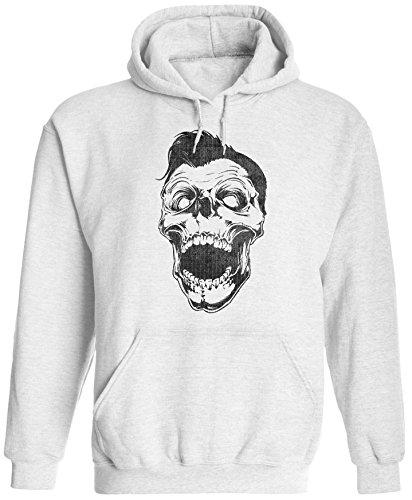Austin Ink Apparel Unisex Mens Retro Rockabilly Skull Pullover Hooded Sweatshirt (White, S) ()