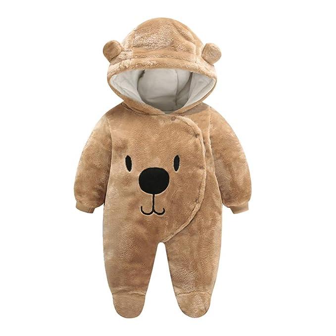 FENICAL Mameluco con capucha y osito de dibujos animados mono cálido ...