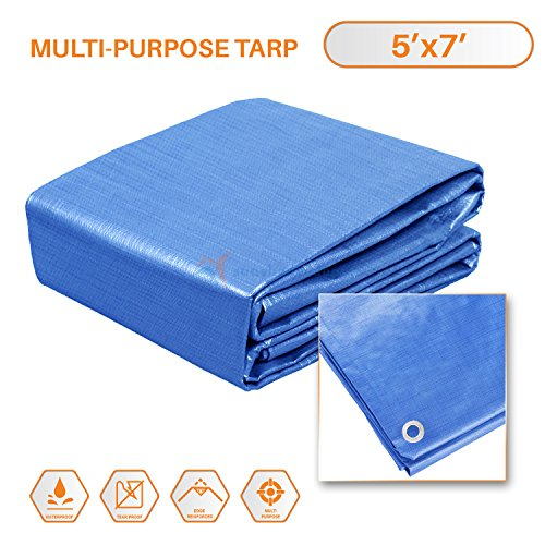 Sunshades Depot 5x7 Feet General Multi-Purpose 5 Mil Waterproof Blue Multi Purpose Waterproof Poly Tarp Cover 5 Mil Thick 8x8 Weave