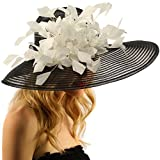 SK Hat shop Spectacular Spray Feathers Sinamay Derby Floppy Wide Brim 7'' Dress Hat Black/White