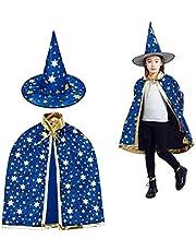 MUCHEN SHOP Wizard mantel met hoed,Halloween kostuums heks mantel ster Cape voor kinderen peuters kinderen jongens meisjes kostuum cosplay fancy jurk