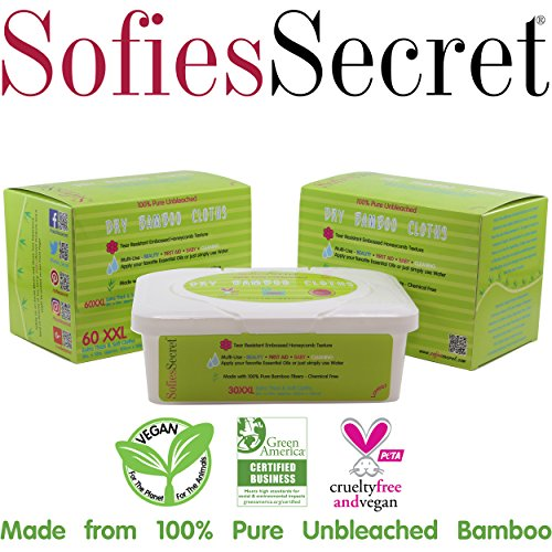 SofiesSecret Unbleached Bamboo DRY Wipes, Extra Thick. XXL, 2 Refills & 1 FREE TUB, 120 Count - Multi-Use: Beauty, First Aid, Baby, Cleaning, Ultra Soft 8in. X 12in.