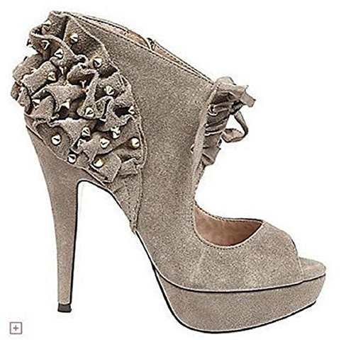 Betsey Johnson Laciy Platform Peeptoe Studded Pumps Suede Taupe
