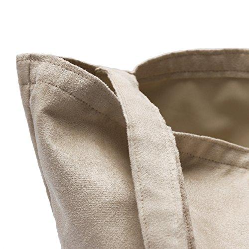 Tasche Schultertasche Reise Shopping Bag, abgefüttert - aus Antara Plus Wildleder Microfaser Farbe 2151 - Marron 2151 - Marron