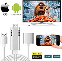 Lightning to HDMI Cable Adapter for IOS/Android Smartphones iBacakys 1080P HDMI Video AV Cable Connector HDTV Adapter Cable for iOS iPhone iPad/Android Smartphones on HDTV Projector