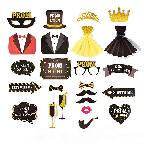 Prom Photo Booth Props High School Prom Night Party Junior Prom Decoration 23 pcs Easy Joy (Black Gold - PROM)]()