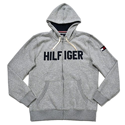 - Tommy Hilfiger Mens Full Zip Graphic Hoodie (L, Gray)