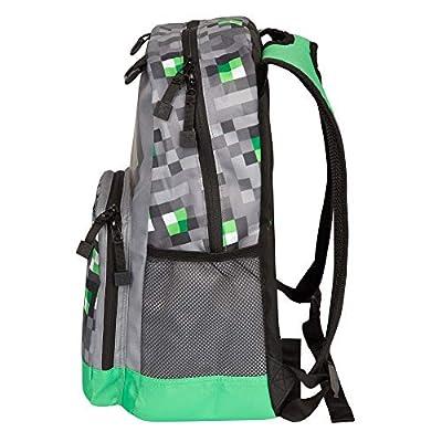 JINX Minecraft Emerald Survivalist Kids School Backpack, Green, 17