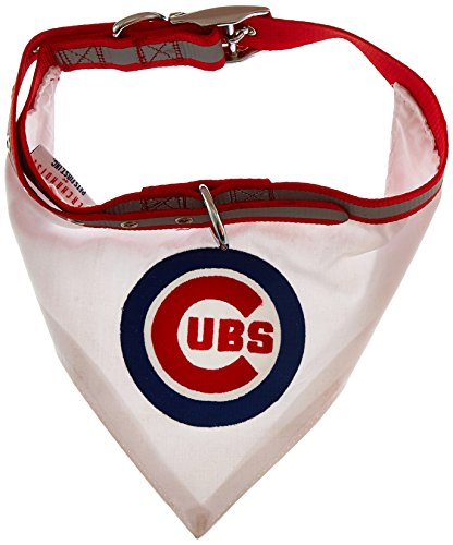 MLB BANDANA - CHICAGO CUBS DOG BANDANA with Reflective & Adjustable DOG COLLAR, Large - Dog Harness Embroidered