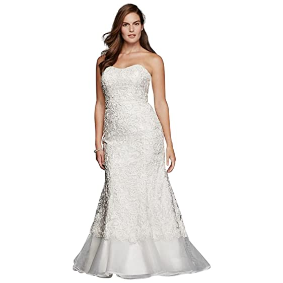 David\'s Bridal Plus Size Lace Over Charmeuse Gown with Soutache ...
