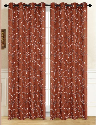 Captivating RT Designers Collection Tuscan Window Curtain Panel, 54 By 84 Inch, Rust