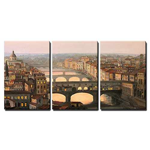 """Wall26 - 3 Piece Canvas Wall Art - Sunset over Florence with the River and Ponte Vecchio in Warm Light - Modern Home Decor Stretched and Framed Ready to Hang - 24\""""x36\""""x3 Panels"""