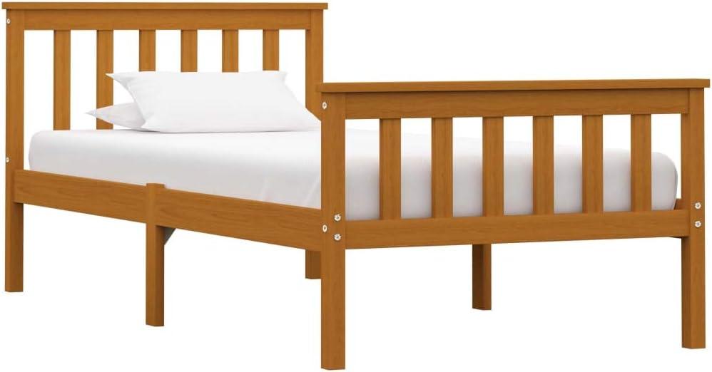 vidaXL Madera Maciza de Pino Estructura de Cama Individual Marrón Miel 90x200 cm Somier Muebles de Dormitorio Habitación