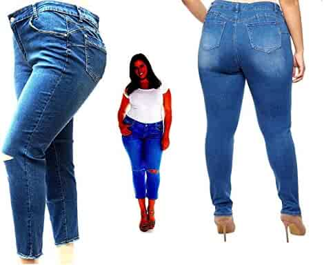 9ae87548774 Studio Q Womens Plus Size Ripped Skinny Roll up Blue Denim Jeans Distressed  Pants