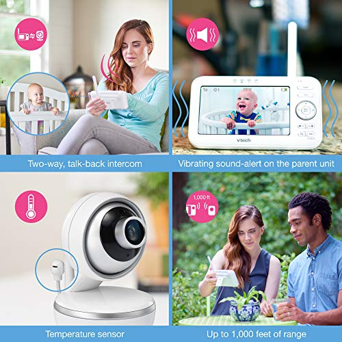"""VTech VM5261 5"""" Digital Video Baby Monitor with Pan & Tilt Camera, Wide-Angle Lens and Standard Lens, White by VTech (Image #7)"""