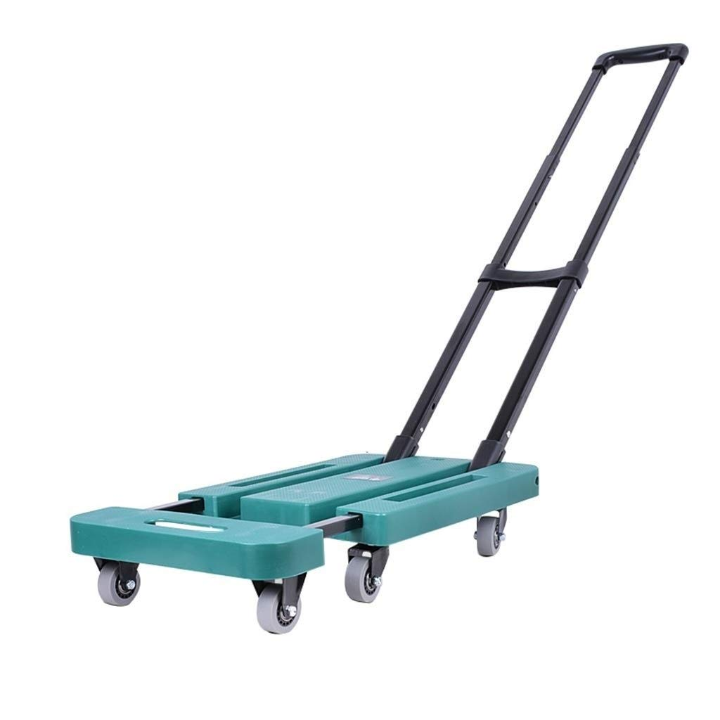 ASdf Portable Folding Luggage Cart with 6 Wheels with Brakes Withstand 440 Pounds Hand Truck Travel Trolley Blue