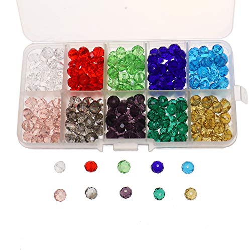 WSSROGY 300 Pack Crystals Glass Briolette Beads with Container Box, 8mm 10 Color Rondelle Faceted Beads for Jewelry Making, DIY Beading Projects, ()