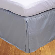 Floris Fashion Twin 300TC 100% Egyptian Cotton Silver Grey Solid Luxury 1 Piece Box Pleated Bedskirt Solid (Drop Length: 21 inches) - Tailored Finish Super Comfy Easy Care Fabric