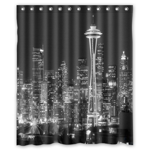 Unique And Generic Shower Seattle Black White City Skyline Curtain Custom Printed Waterproof Fabric Polyester