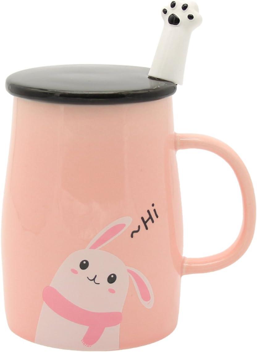 Angelice Home Pink Cute Bunny Mug Funny Ceramic Coffee Mug with Stainless Steel Spoon, Novelty Coffee Mug for Rabbit Lovers