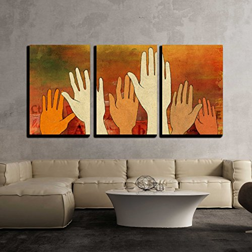 Illustration Group of Raised Hands Over a Colorful and Textured Background x3 Panels
